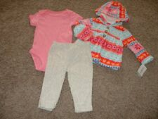 Carters Baby Girl 3pc Outfit Set Fleece Hoodie Heart...