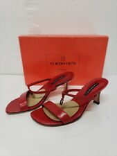 CLAUDIA CIUTI ITALY Napa Red SANDALS 2 STRAP HEEL SHOES WOMENS 6.5
