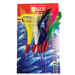 5 packets of coloured mackerel mackeral  feathers 5 hooks