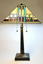 """Tiffany Style Stained Glass Blue& Beige Mission Table Lamp Handcrafted 16"""" Shade"""
