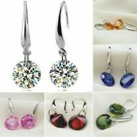 Womens Round Earrings Hook Drop Dangle Crystal Studs 925 Sterling Silver Plated