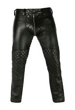 Men's Real Leather Quilted Panels Double Zipped Pants Bikers/Gay Interest Pants