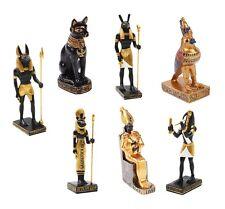 Set of 7 Pcs Gods Goddess Ancient Egyptian Miniature Doll House Small Sculpture