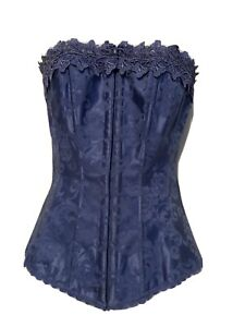 Frederick's of Hollywood Blue Dreamy Satin Laced Corset Size 32 without Garters