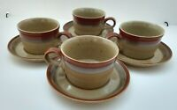 SET OF 4 MIKASA POTTERS ART BEN SEIBEL COUNTRY CABIN FLAT COFFEE CUPS & SAUCERS