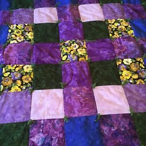 Handmade Baby Quilt Baby Blanket ~ Green Blue Purple~ Pansy~ 30X 35
