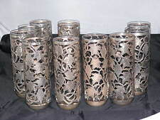 Vintage Sterling Silver Tall Soft Drink Glasses & Coasters Floral Art,Set of 10