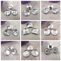 SILVER SEW ON CRYSTAL BLING BUTTONS *27 STYLES* FLOWER ROUND SQUARE HEART SEWING