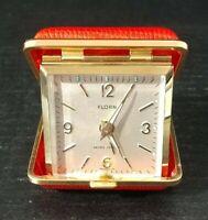Rare Florn Travel Alarm Clock - vintage, unique Red leather case 7 jewels #2920