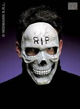 White Skull Half Face Mask Skeleton Scary Halloween Fancy Dress