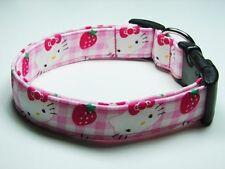 Charming Hello Kitty Pink Gingham & Strawberries Dog Collar