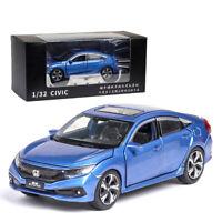 1:32 Scale Honda Civic Model Car Metal Diecast Toy Vehicle Kids Sound Light Blue