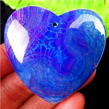 """SENSATIONAL"" BLUE & PURPLE DRAGON VEINS FIRE AGATE ""HEART"" PENDANT MB 1212"