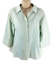 Chico's Size 2 Large Striped No Iron Button Down Shirt Blouse Green Shimmer Top