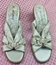 "White Stag ""Bonnie"" Silver / Beige Faux Leather Sandals Wedge SIZE 8.5 #S159"