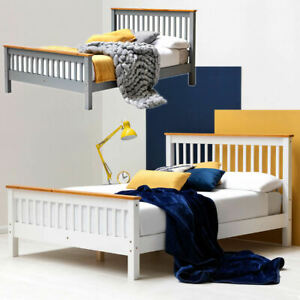 Shaker Style Pine Wood Bed Frame White or Grey Single Double King Size || BSD