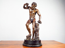 Antique 19th C Large Bronze Art Sculpture Satyr With Cymbals Duchemin Grand Tour