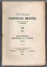 S. NIKITIN BIBLIOTHEQUE GEOLOGIQUE RUSSE 1891 BIBLIOGRAPHIE GEOLOGIE RUSSIE
