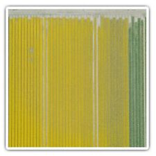 2 x Square Stickers 10 cm - Yellow Green Line Art Textile Pattern  #46498