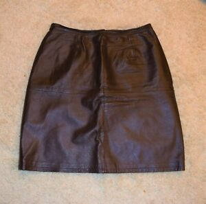 SHAPE FX by Newportnews Genuine Leather Chocolate Brown Women Knee Skirt Size 16