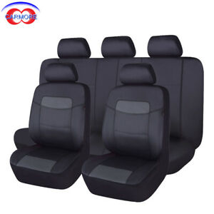 PU Leather Seat Covers Set 11 Pieces Universal fit car SUV Van black water proof