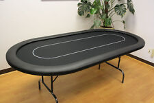 """10 Players 84"""" Texas Holdem Poker Table Folding Legs Black Color no  cup holders"""