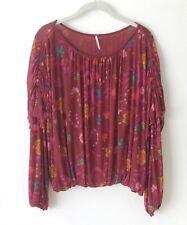 c64bbfb46e4f9 Free People Womens Wild Flower Honey Shirt Burgundy Floral Mesh Ruffle Size  M