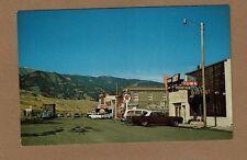 Gardiner,MT Montana, City Street, Texaco Gas Station, other signs & Cars