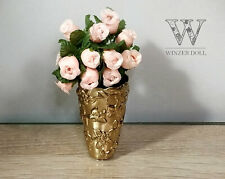 Mini Vase + bouquet of silk flowers, dollhouse decoration, 1/6, 1/4