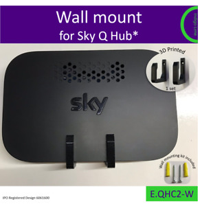 Old Sky Q Hub* (wifi) wall bracket. Holder. Mount - black. Made in the UK by us.
