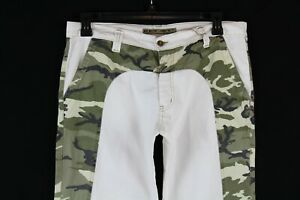 Key Jey Men's White And camo Pants Size 36 Made In Italy