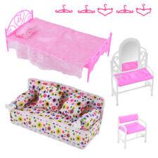 8Pcs/lot Princess Furniture Sofa Bed Accessories Child Kids Gift Barbie Doll New