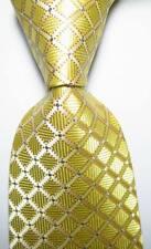 New Classic Checks Beige Silver JACQUARD WOVEN 100% Silk Men's Tie Necktie