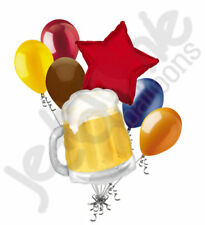 7 pc Beer Mug Here's to you Balloon Bouquet Happy Birthday Graduation Dad Party