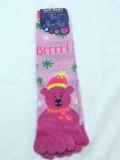 Toe Flip Flop Teddy Bear Socks soft Fuzzy Lavender Womens 9-11 Shoe size 5-9  C