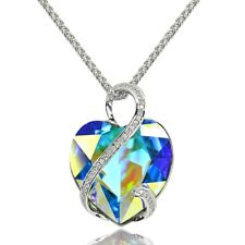 Aurora Borealis I LOVE YOU Heart Fashion Necklace made with Swarovski Crystal
