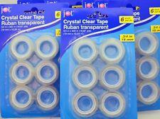 "18 ROLLS 3/4"" X 600' Crystal Clear TAPE Ruban Transparent Dispenser Refills BULK"