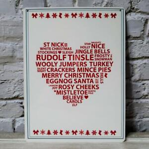 Christmas Words In A Heart Metal Wall Sign Rudolph Mistletoe Jingle Bells