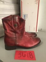 Frye Womens Size 6.5 B burgundy Leather Melissa Short Zipper Boots 3477908