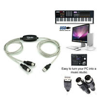 USB IN-OUT MIDI Interface Cable Converter PC to Music Keyboard Adapter Cord-SL!0