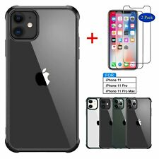 For iPhone 11 Pro Max Clear Slim Phone Case Silicone Case Cover+Screen Protector
