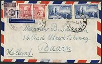 1951 Federation 3d pair & 5½d x 2 on airmail cover to the Netherlands TS370