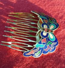 VTG Butterfly Inlaid Hair Barrette Comb 60's Fashion  Flower Child Jewelry Clip