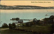 Sandy Point Wharf Penobscot River ME c1910 Postcard