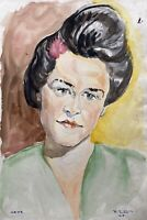Fritz Zeh 1903 Aquarell Porträt einer Frau mit Kopfschmuck Braun Grün Hexe