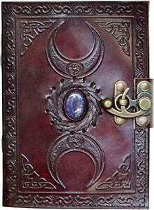 Blank spell book of shadows journal with lock clasp vintage handmade leather