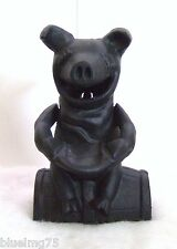 Vintage Cast Iron Black Mechanical Bank Pig Porky Piggy Barrell