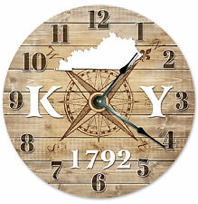 KENTUCKY CLOCK Established in 1792 STATE CLOCK Large 10.5 inch Wall Clock RUSTIC
