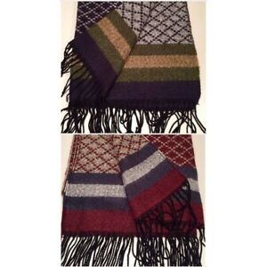 Fringed woollen wrap. Navy or burgundy. New with tag.