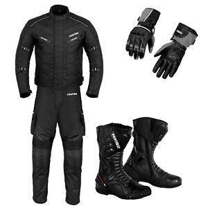 Motorbike Motorcycle Racing Textile Suit Waterproof Leather Riding Boots Gloves